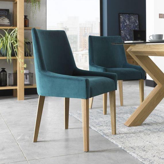 Ella Light Oak Scoop Back Dining Chair - Sea Green Velvet (Pair)