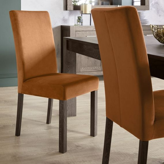 Parker Dark Oak Square Back Dining Chair - Harvest Pumpkin Velvet (Pair)