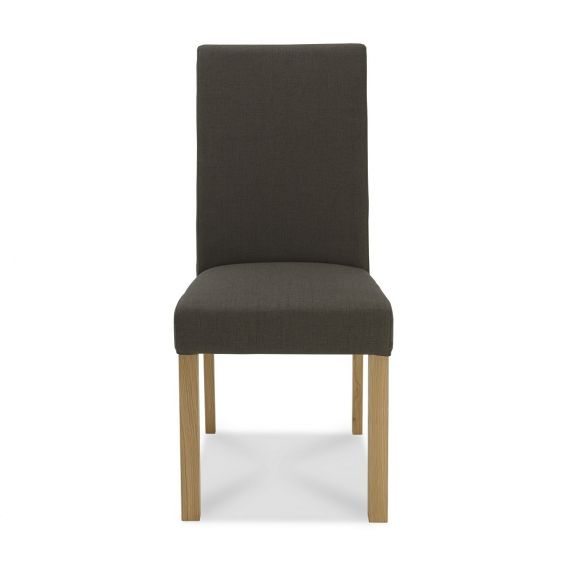 Parker Light Oak Square Back Dining Chair - Black Gold Fabric (Pair)