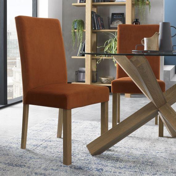 Parker Light Oak Square Back Dining Chair - Harvest Pumpkin Velvet (Pair)