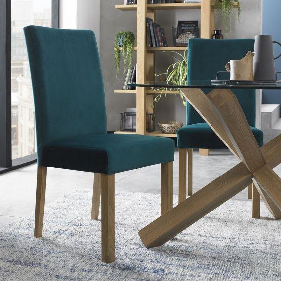Parker Light Oak Square Back Dining Chair - Sea Green Velvet (Pair)