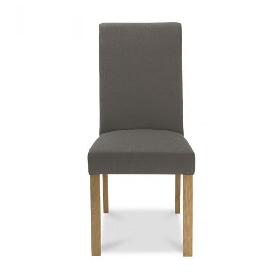 Parker Light Oak Square Back Dining Chair - Titanium Fabric (Pair)