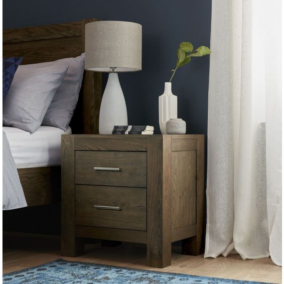 Turin Dark Oak 2 Drawer Bedside Chest