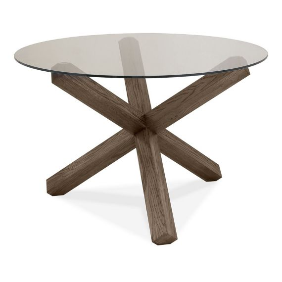Turin Dark Oak 4 Seater Round Glass Top Dining Table
