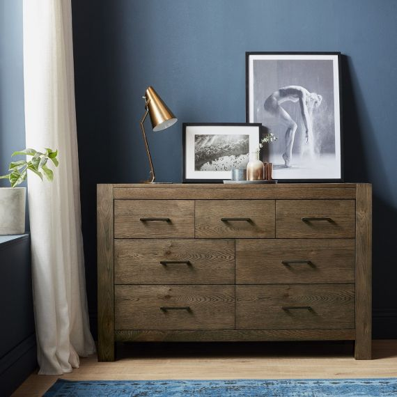 Turin Dark Oak 7 Drawer Wide Chest