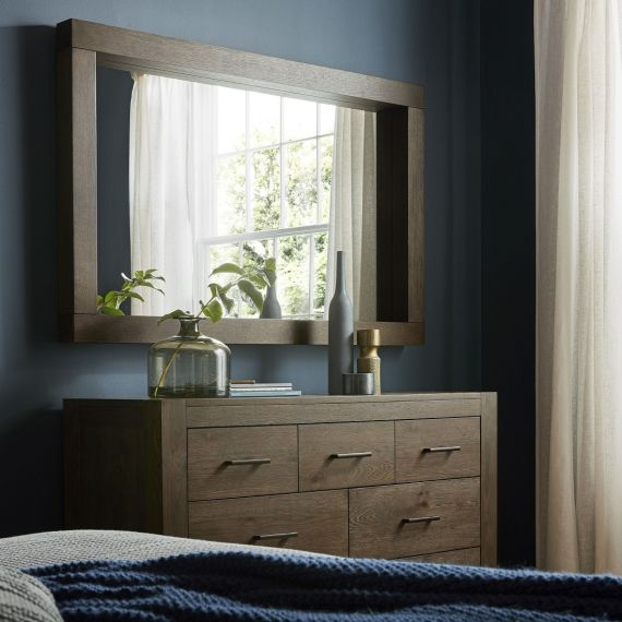 Turin Dark Oak Large Wall Mirror