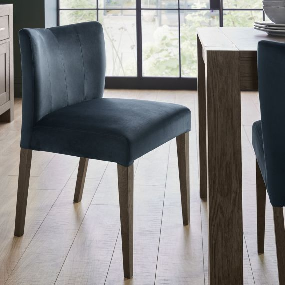 Turin Dark Oak Low Back Dining Chair - Dark Blue Velvet (Pair)