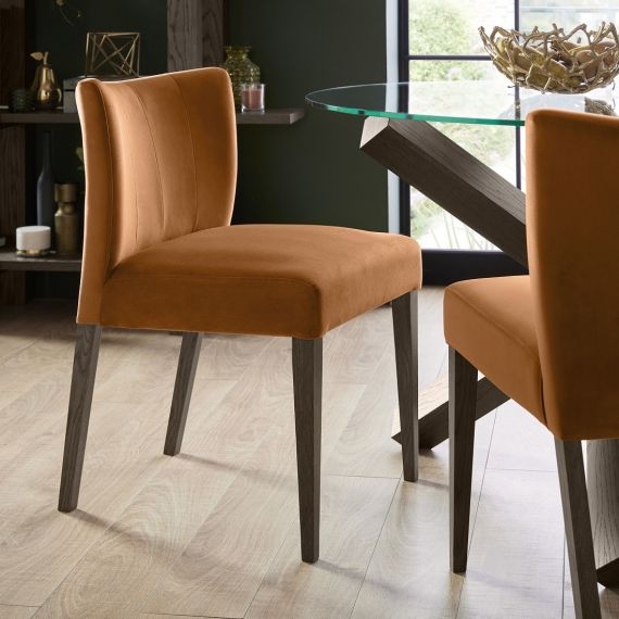 Turin Dark Oak Low Back Dining Chair - Harvest Pumpkin Velvet (Pair)