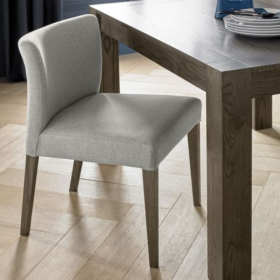 Turin Dark Oak Low Back Dining Chair - Pebble Grey Fabric (Pair)