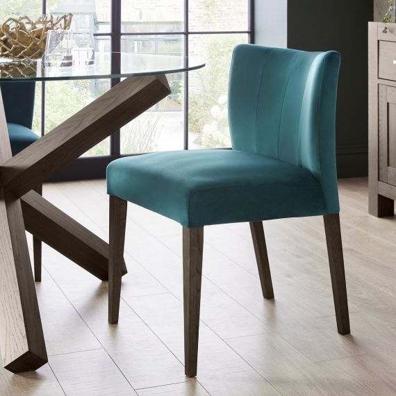 Turin Dark Oak Low Back Dining Chair - Sea Green Velvet (Pair)