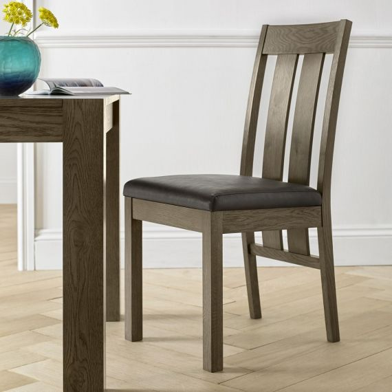 Turin Dark Oak Slatted Dining Chair - Brown Distressed Leather (Pair)
