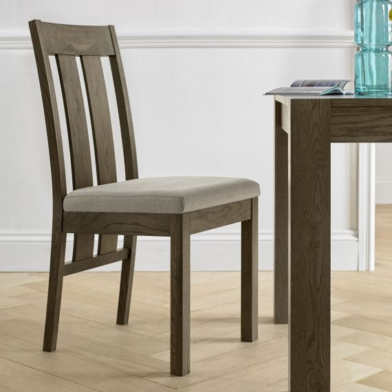 Turin Dark Oak Slatted Dining Chair - Pebble Grey Fabric (Pair)