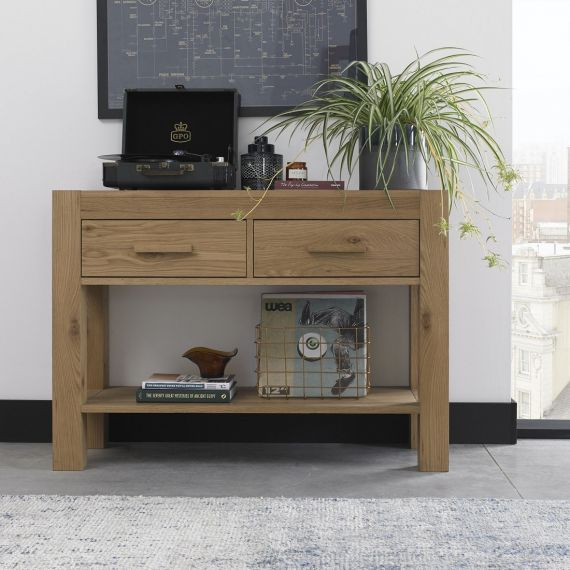 Turin Light Oak Console Table with Drawers