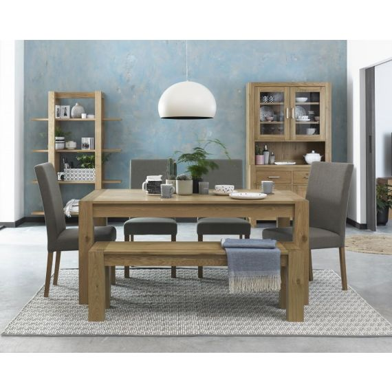 Turin Light Oak Fixed Top Dining Table