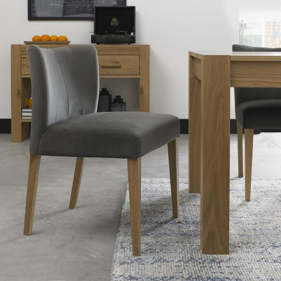 Turin Light Oak Low Back Dining Chair - Gun Metal Velvet (Pair)