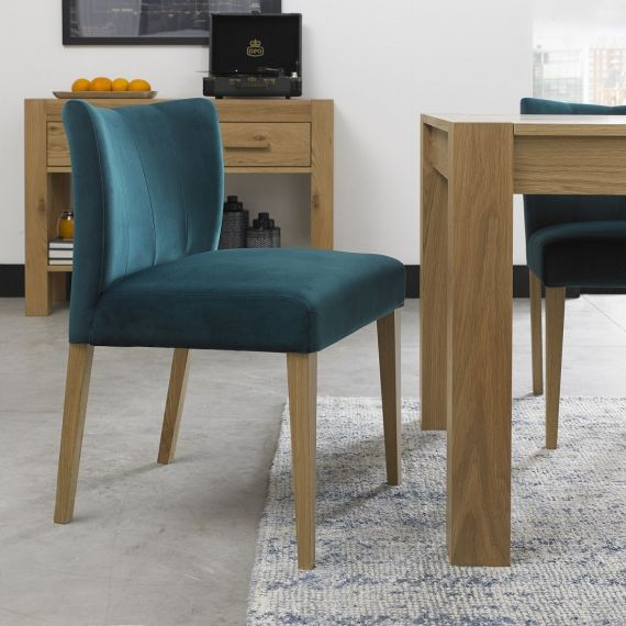 Turin Light Oak Low Back Dining Chair - Sea Green Velvet (Pair)