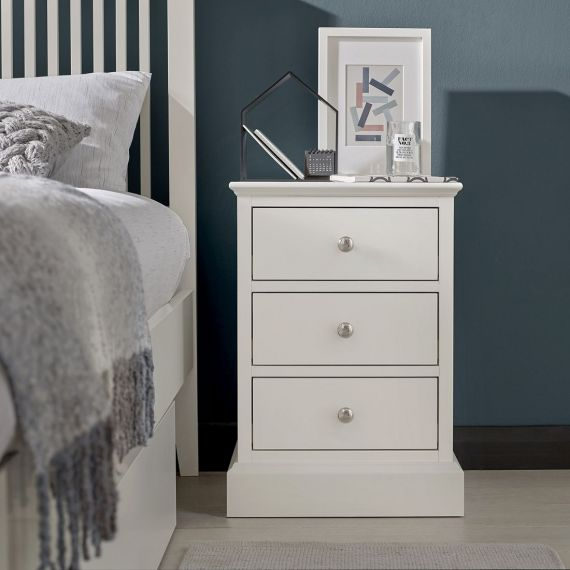 Ashby White Painted 3 Drawer Bedside Chest - Ashby Bedroom Furniture