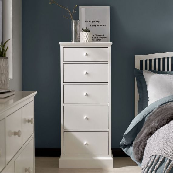 Ashby White Painted 5 Drawer Tallboy - Ashby Bedroom Furniture