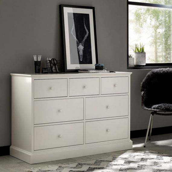 Ashby White Painted 7 Drawer Wide Chest - Ashby Bedroom Furniture