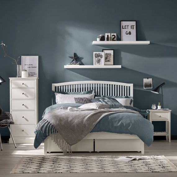 Ashby White Painted Slatted Double Bed - Ashby Bedroom Furniture