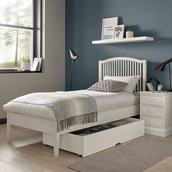 Ashby White Painted Slatted Single Bed - Ashby Bedroom Furniture