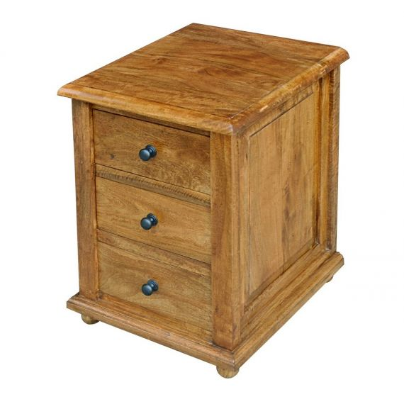 Asian Solid Mango Wood 3 Drawer Bedside Chest