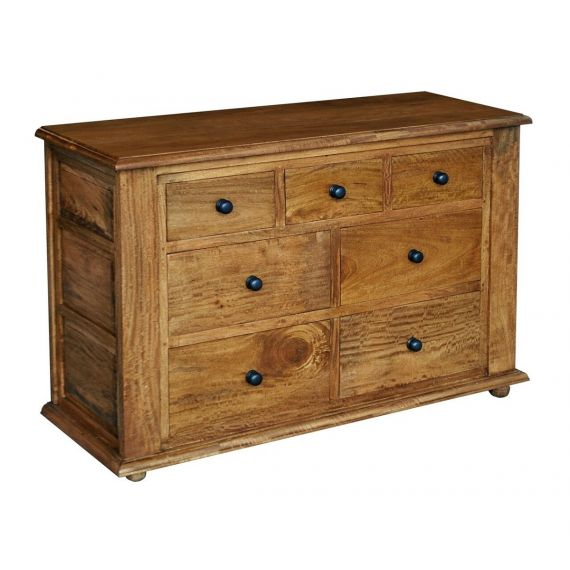 Asian Solid Mango Wood 7 Drawer Wide Chest