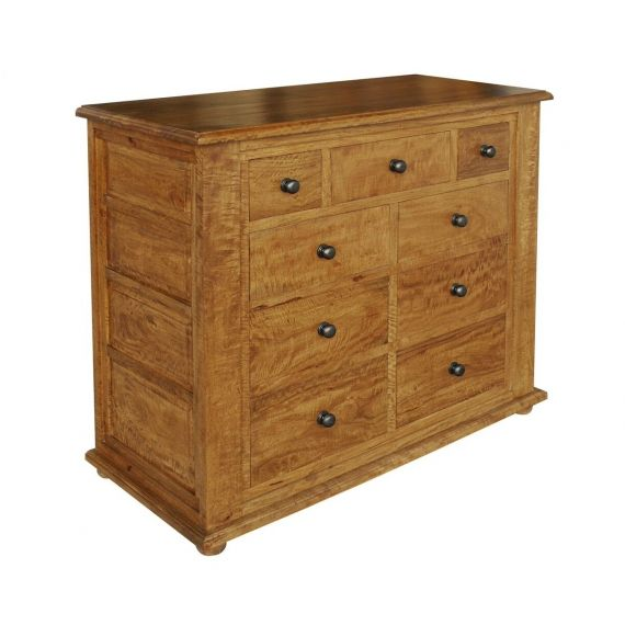 Asian Solid Mango Wood 9 Drawer Chest
