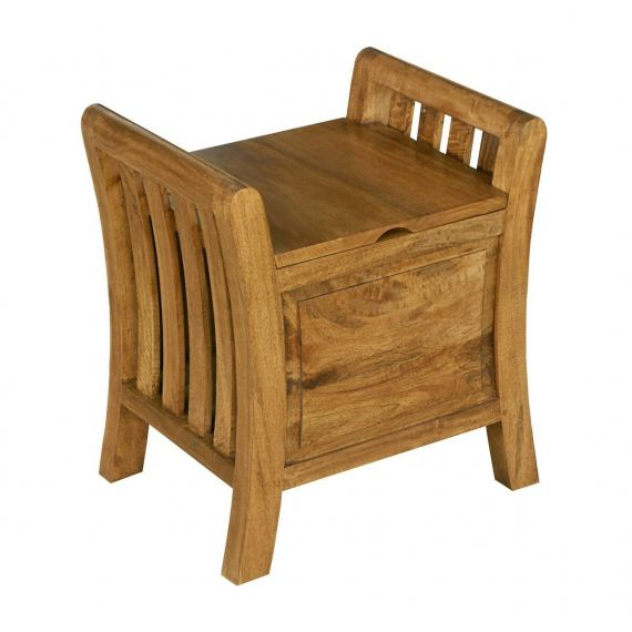 Asian Solid Mango Wood Dressing Table Stool