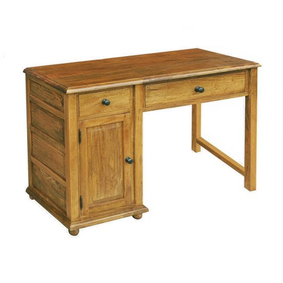 Asian Solid Mango Wood Single Pedestal Dressing Table