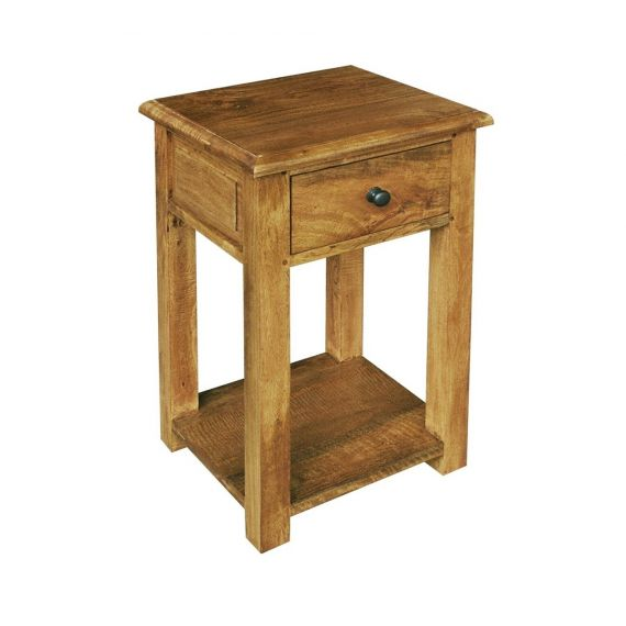 Asian Solid Mango Wood Tall Lamp Table