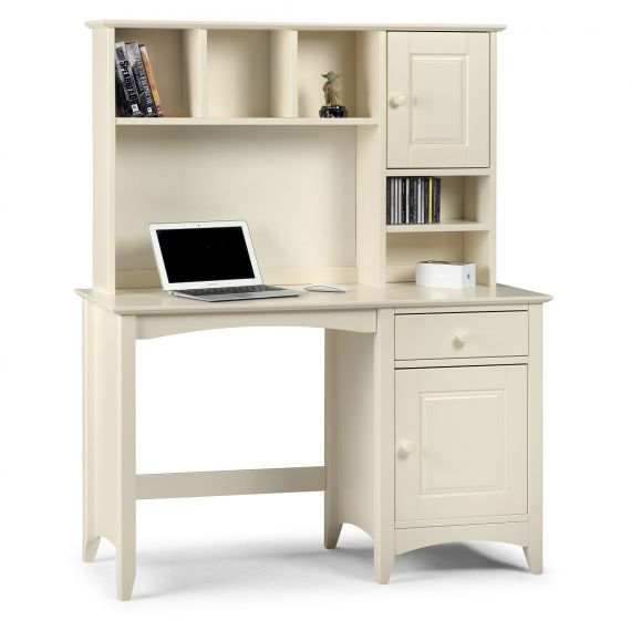Aspen White Single Pedestal Dressing Table and Hutch