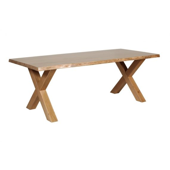 Barkington Solid Oak Large Fixed Top Cross Leg Dining Table