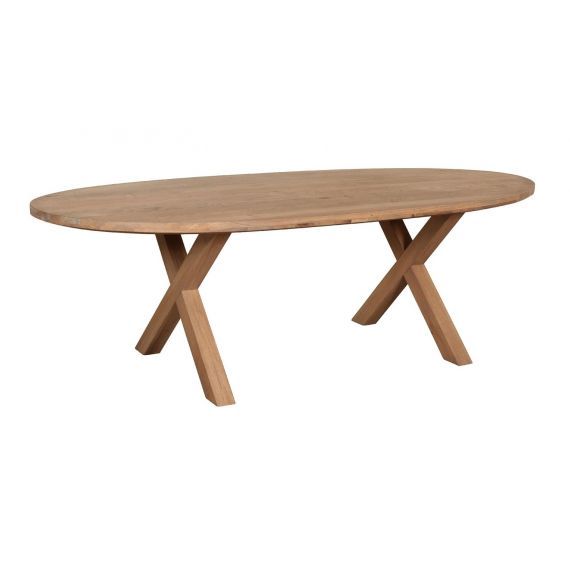 Barkington Solid Oak Oval Fixed Top Cross Leg Dining Table