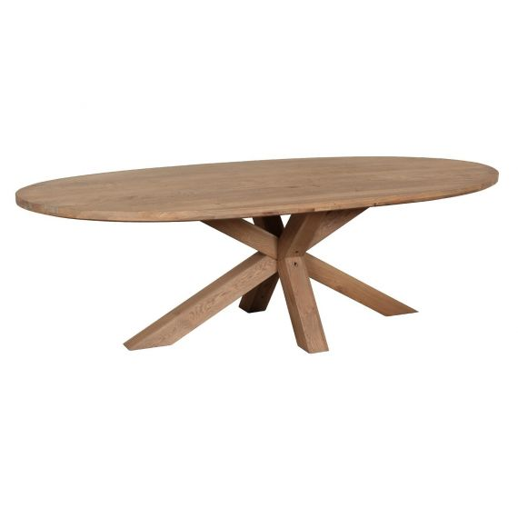 Barkington Solid Oak Oval Fixed Top Dining Table with Double Cross Leg Pedestal