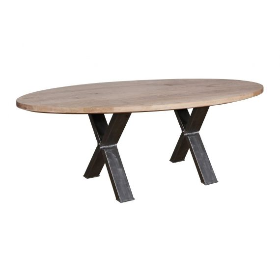 Barkington Solid Oak Oval Fixed Top Metal Cross Leg Dining Table