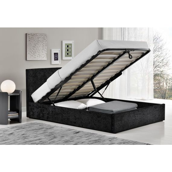 Berlin Crushed Velvet Ottoman Bed - Black