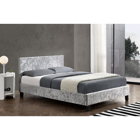 Berlin Crushed Velvet Bed - Steel