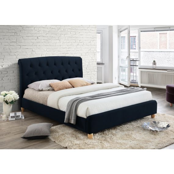 Brompton Midnight Blue Fabric Bed
