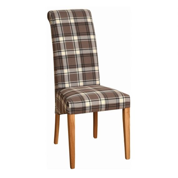 Brown Check Fabric Dining Chair