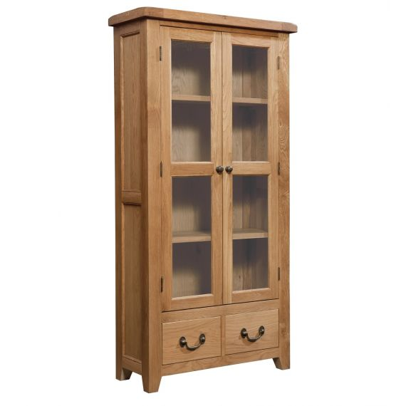 Buttermere Light Oak Display Cabinet with Drawers
