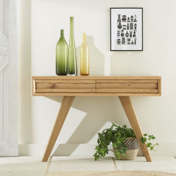 Cadell Rustic Oak Console Table with Drawers - Cadell Furniture
