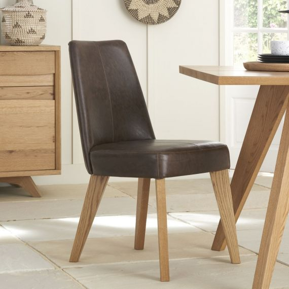Cadell Rustic Oak Espresso Brown Leather Dining Chair (Pair) - Cadell Furniture
