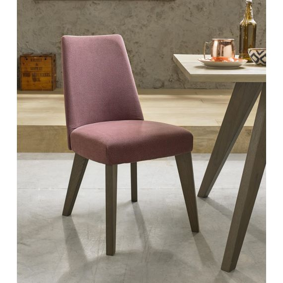 Cadell Weathered Oak Mulberry Fabric Dining Chair (Pair) - Cadell Furniture