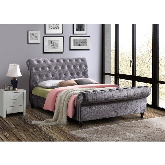 Castello Steel Crushed Velvet Bed
