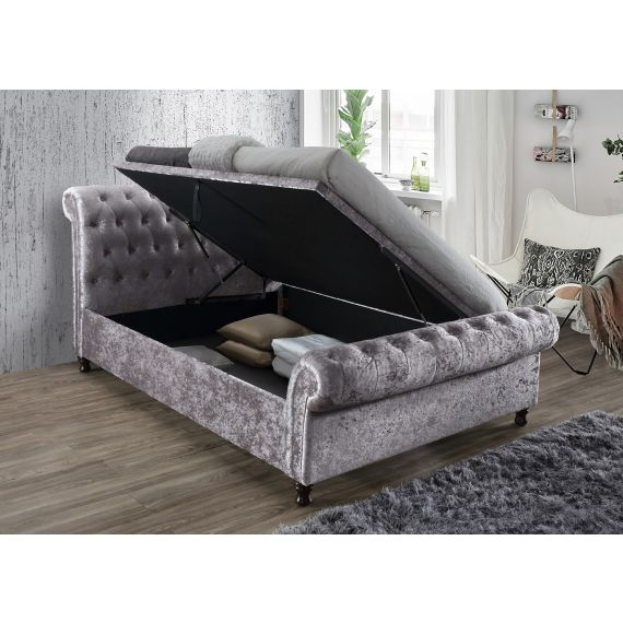 Castello Steel Crushed Velvet Side Ottoman Bed
