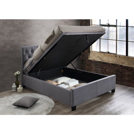 Cologne Grey Fabric Ottoman Bed