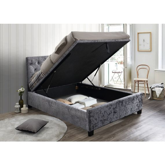 Cologne Steel Crushed Velvet Ottoman Bed