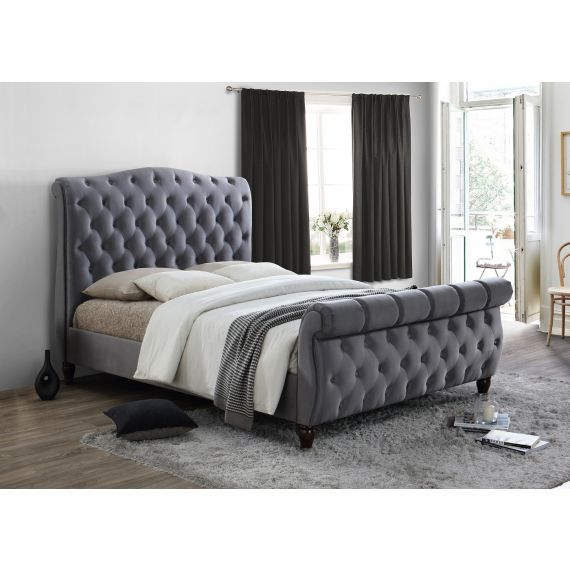Colorado Grey Fabric Sleigh Bed