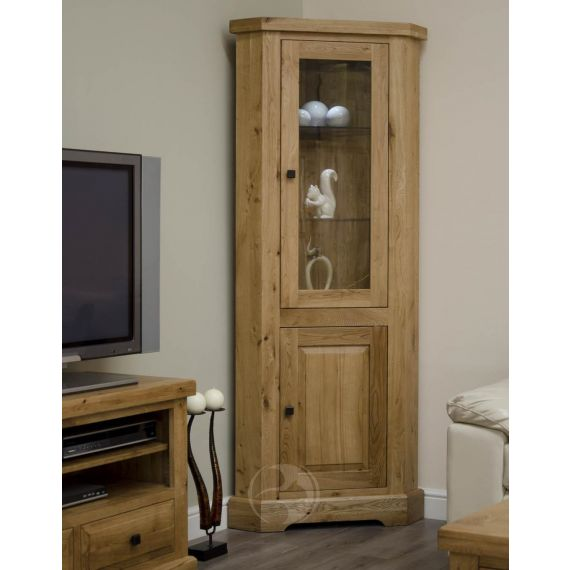 Coniston Rustic Solid Oak Corner Display Unit